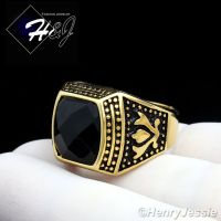 MEN's Stainless Steel Gold Black Onyx Vintage Ring Size 8 ...