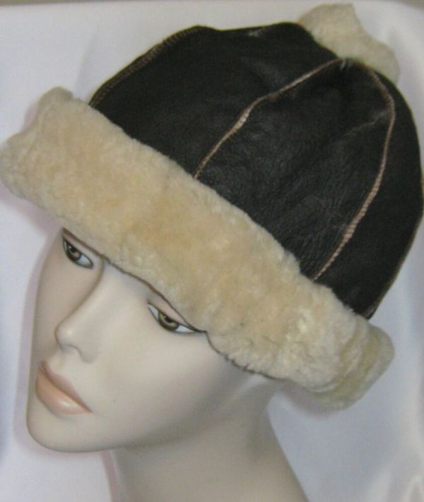 Mens Womens Pompon Brown Sheepskin Shearling Fur Hat Real Leather Warm