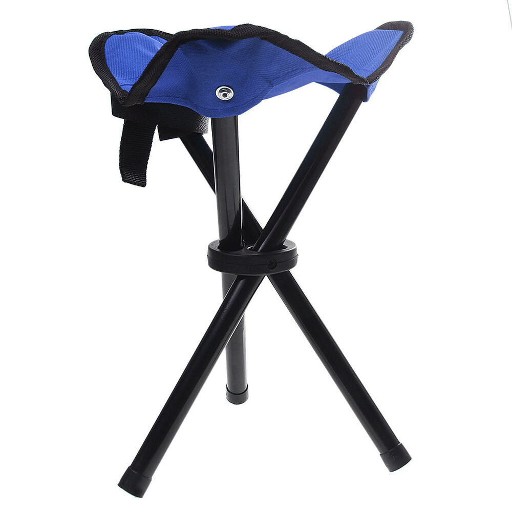 Small Stool Chair Camping Fishing Travel Small Lightweight Tripod Folding Stool Chair Blue Ebay