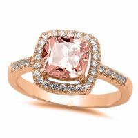 Cushion Pink Morganite Rose Gold Sterling Silver Halo ...