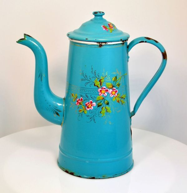 French Aqua Floral Enamelware Coffee Pot Graniteware