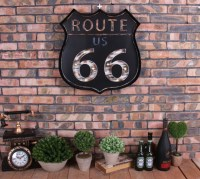 Vintage LED Light Metal Sign Bar US ROUTE 66 Hand-painted ...