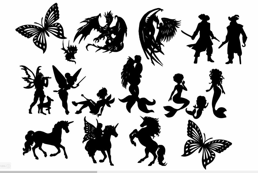 Die Cut Out Silhouette Mix fairy mermaid unicorn butterfly