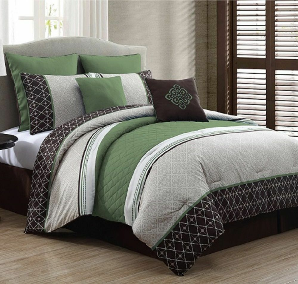 Luxurious Queen Size Bed in a Bag 8Piece Comforter Set Bedroom Bedding Green  eBay