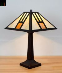 Tiffany White Mission Style Stained Glass Table Lamps ...