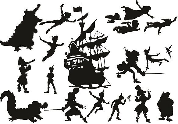 Die Cut Outs Silhouette Peter Pan Hook Ship Fairy 20 x set