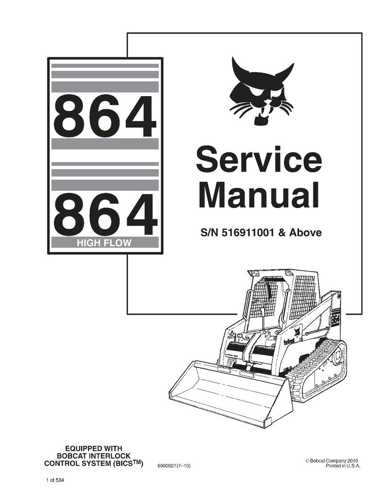 Bobcat 864 Series Skid Steer BICS High Flow Service Repair