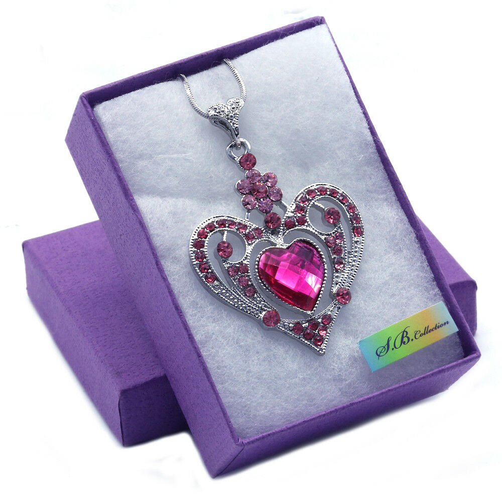 New Valentines Day Gift Pink Heart Pendant Necklace Silver