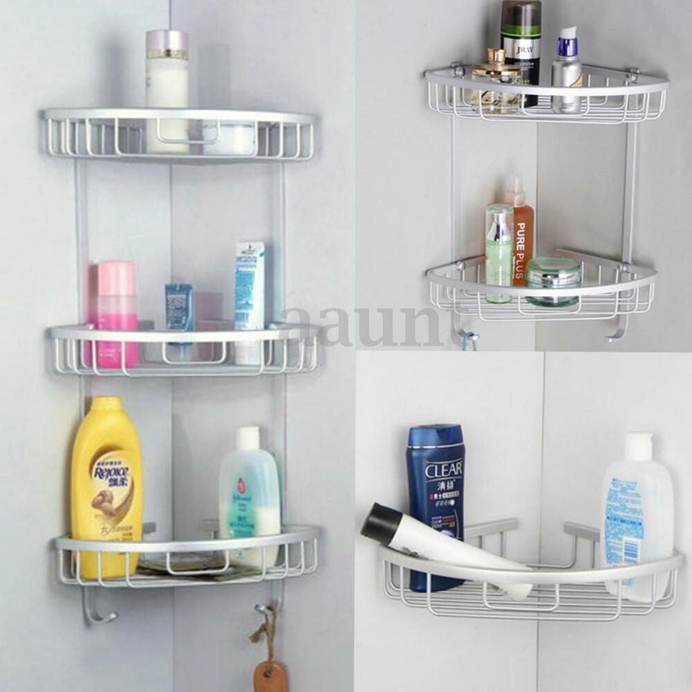 3 Layers Triangular Shower Shelf Bathroom Corner Rack Storage Basket Hanger US  eBay