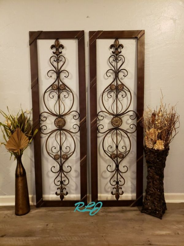 Antique Vintage French Victorian Brown Wood Metal Scroll