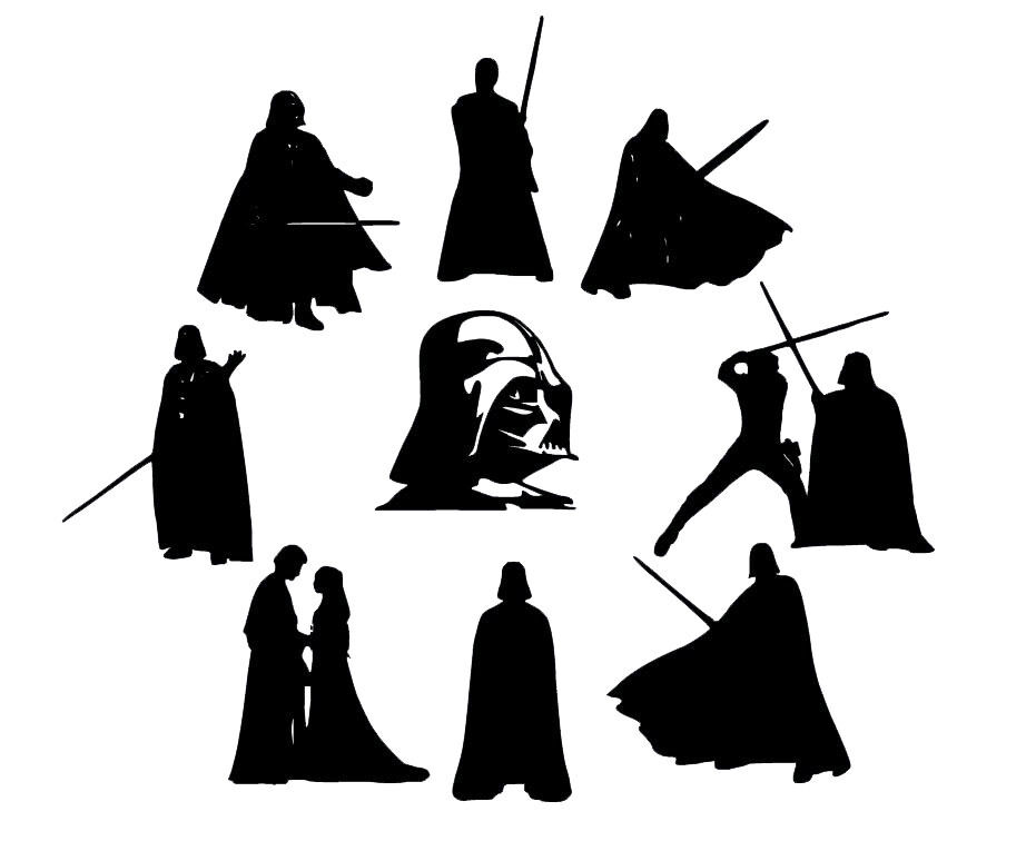Die Cut Outs Silhouette Starwars Darth Vader Shapes set
