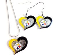 "NFL ""PITTSBURGH STEELERS"" NECKLACE / EARRINGS TEAM LOGO"