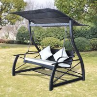 Garden Rattan Swing Patio Hammock Outdoor Bench Sunshade ...