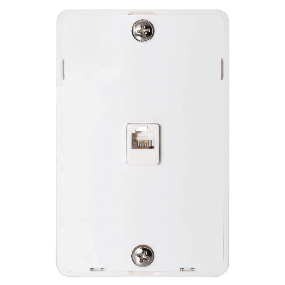 hight resolution of details about phone jack wall plate modular white surface mount 4 wire flush telephone