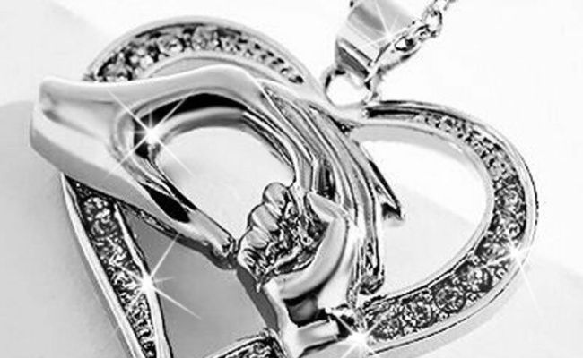 Gifts For Her 18k White Gold Heart Necklace Love Mum