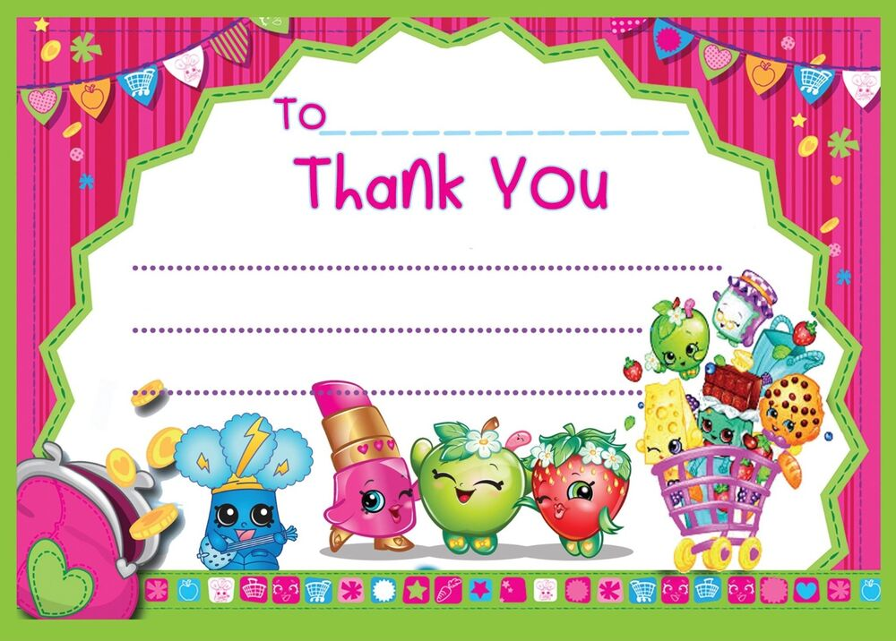 SHOPKINS CHILDRENS BIRTHDAY THANK YOU CARDS NOTES FOR MY