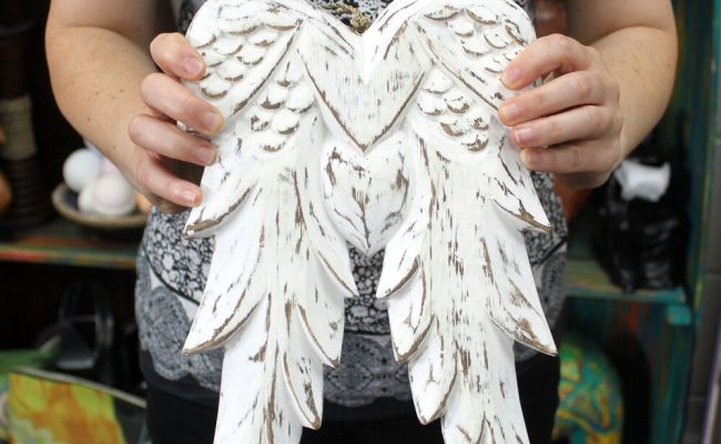 Hand Crafted Wooden Angel Wings 31cm Wall Hanging