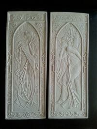 2 Art Deco Mucha Nouveau architectural plaster pediment
