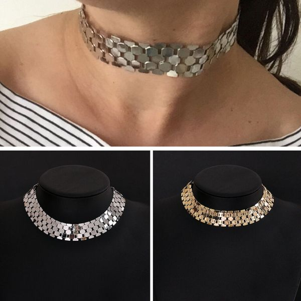 Women Punk Metal Chain Link Wide Silver Gold Tone Choker Statement Necklace
