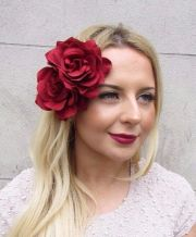 large double red rose flower hair