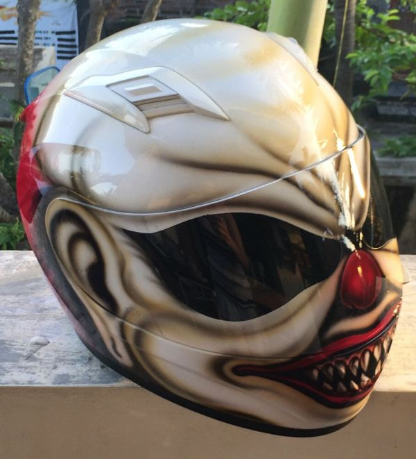 Mad Killer Scary Clown Motorcycle Airbrush Helmet Custom