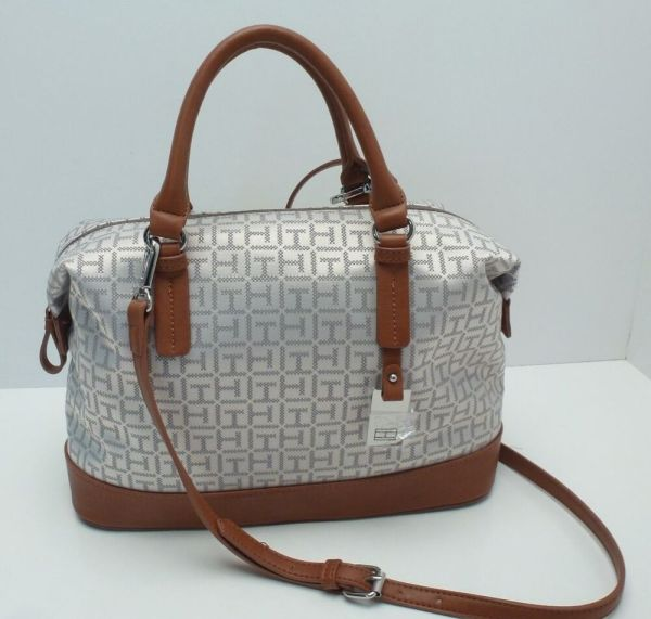 Tommy Hilfiger Women' Handbag Gray Silver Tan Bowler