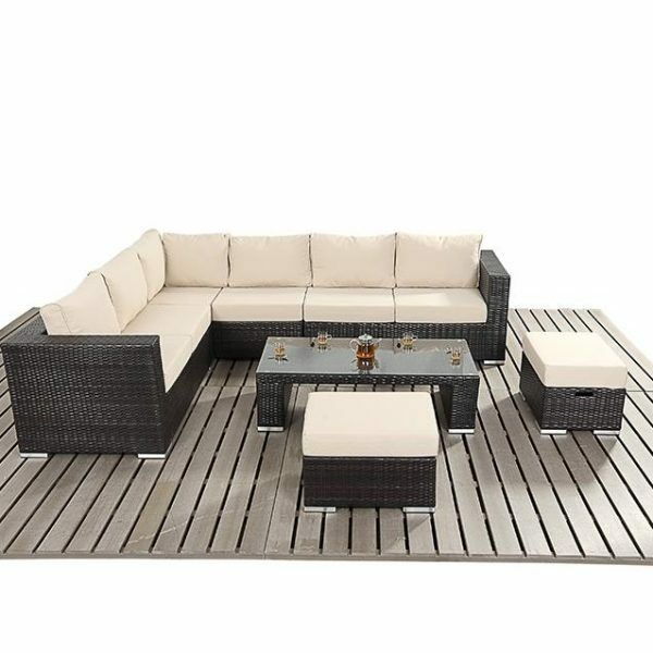 wicker sofa sets uk sunroom sleeper modern rattan corner sofa, stools and coffee table ...