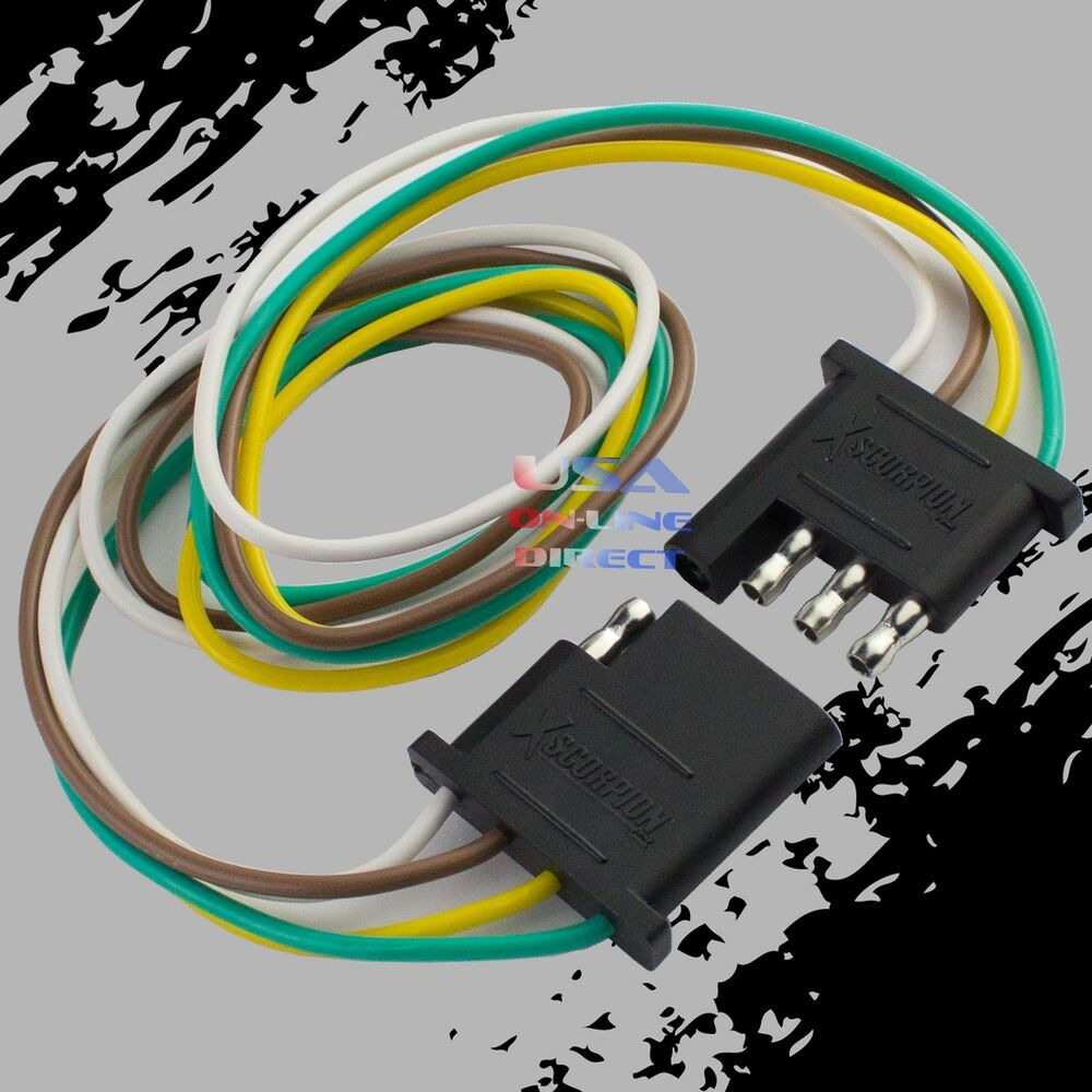 hight resolution of details about 4 pin plug trailer light wiring harness extension flat wire connector 2ft 24