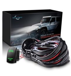 details about car 12ft wiring harness kit with push rocker button switch green led light bar [ 1000 x 1000 Pixel ]