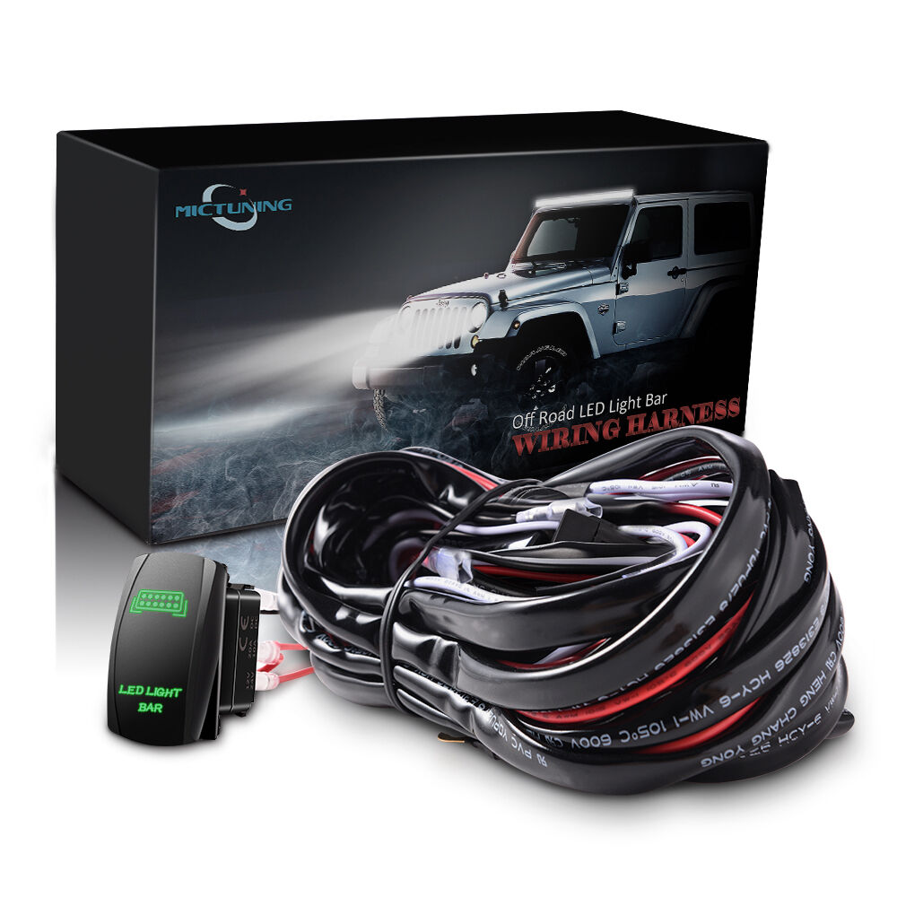 hight resolution of details about car 12ft wiring harness kit with push rocker button switch green led light bar