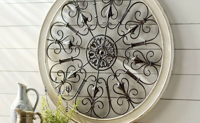 Large Rustic Shabby Wood Scroll Wrought Iron Wall Grille
