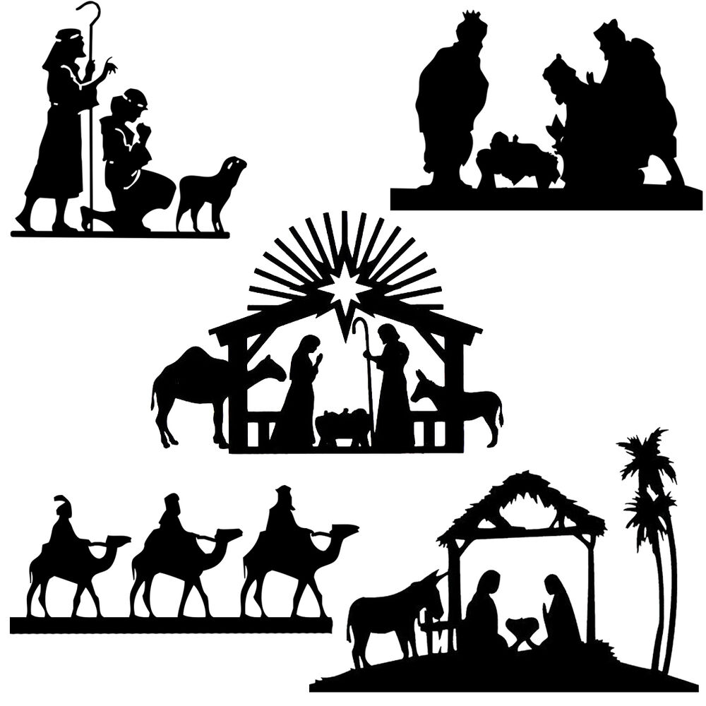 Die cut outs Silhouette Shapes Christmas, Xmas Nativity