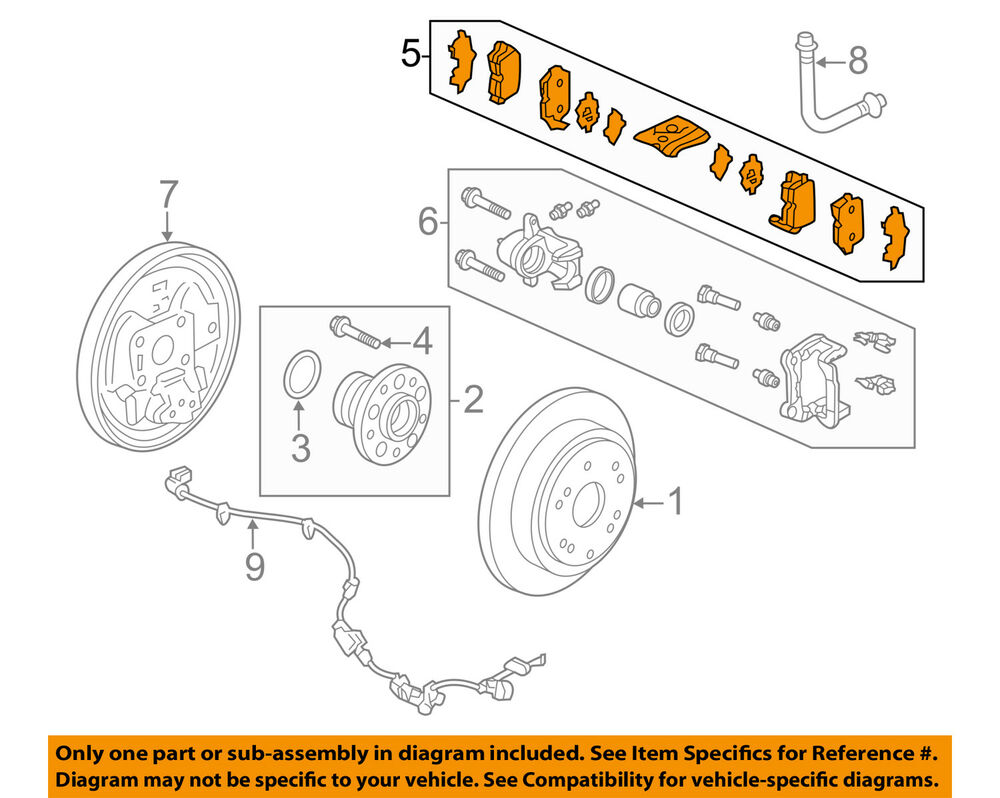 hight resolution of details about honda oem 15 16 odyssey brake rear pads 43022tk8a01