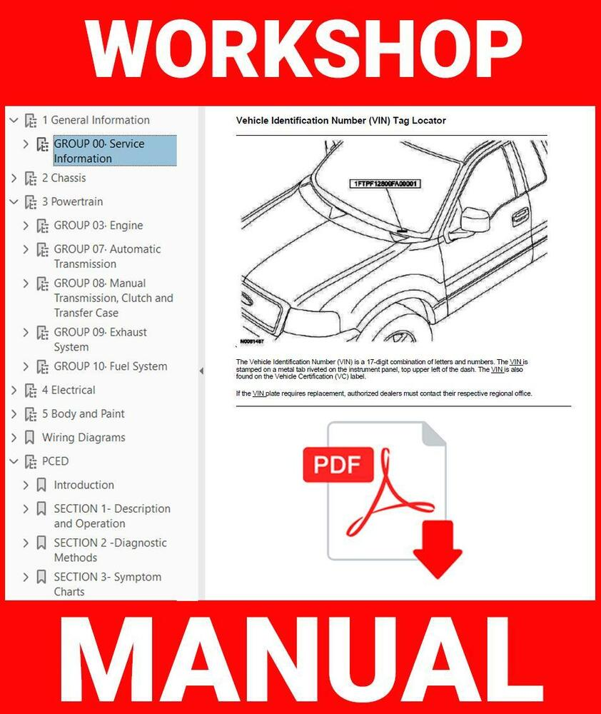hight resolution of details about ford ranger 1996 2010 workshop service repair manual choose your m y