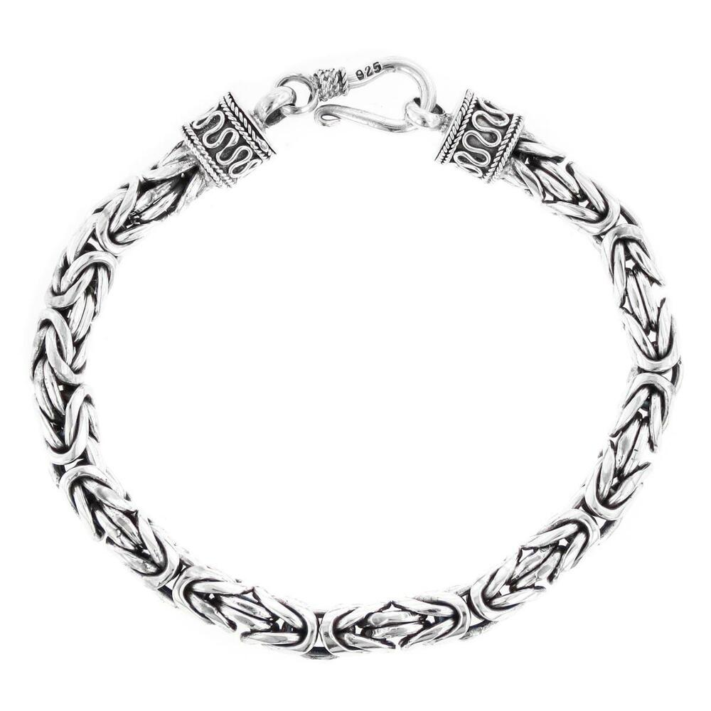 6MM MENS BYZANTINE BALI SOLID 925 STERLING SILVER CHAIN