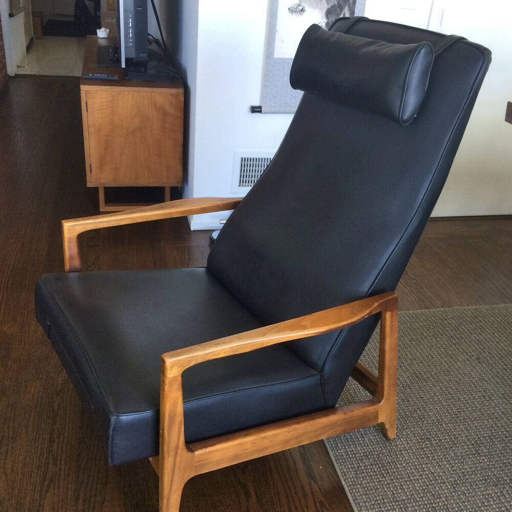 Danish Modern Lounge Chair Vintage Mid Century Danish Modern Recliner Lounge Chair Black With Wood Arms Ebay