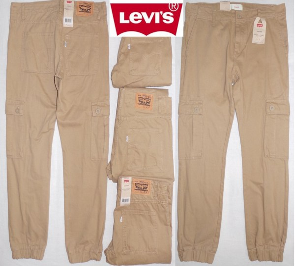 Levis Boys Twill Cargo Jogger Pants Sizes 12 16 18 20 Khaki Boy