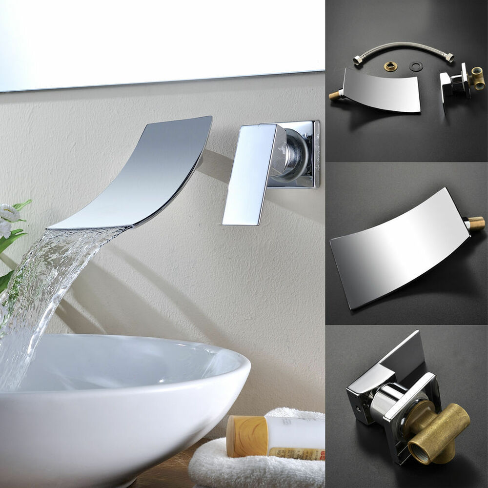 Modern Faucets For Bathroom Sinks As Modern Waterfall Bathroom Sink Faucet Widespread Wall Mount Mixer Tap I1 Ebay