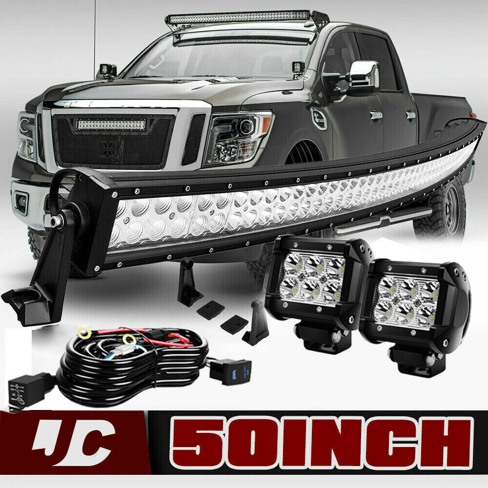 medium resolution of details about 50 curved s f led light bar 4 pods wiring for 2004 14 nissan titan upper roof