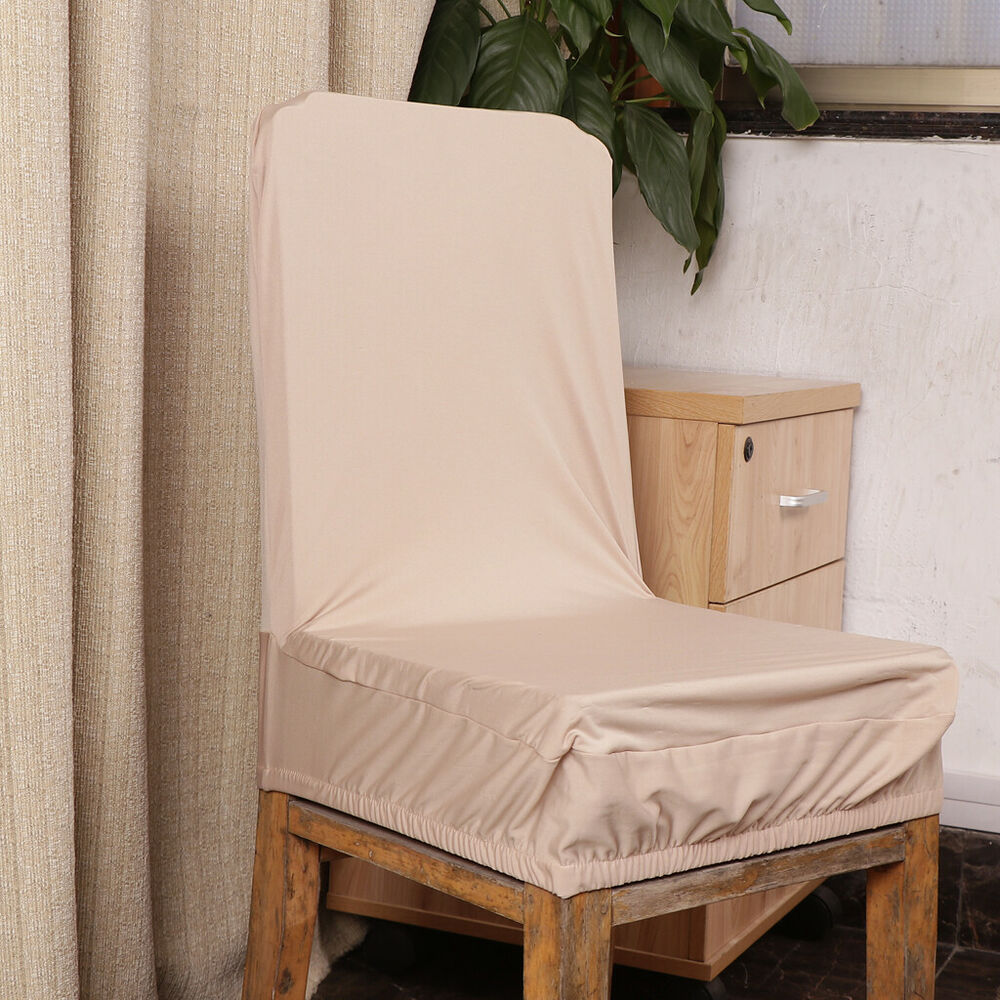 Champagne Chair Covers Stretch Dining Chair Cover Elastic Band Low Short Back Seat Cover Champagne Ebay