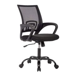 Black Computer Chair Three Chairs In Spanish Ergonomic Mesh Office Mid Back Adjustable Swivel Details About Desk Task
