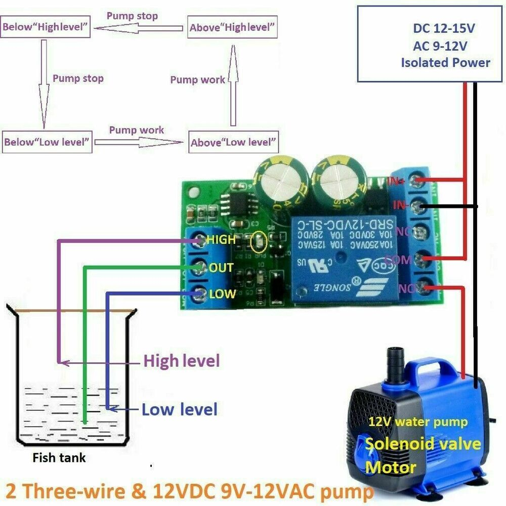 hight resolution of 12v water level automatic controller liquid sensor switch solenoid motor pump ebay