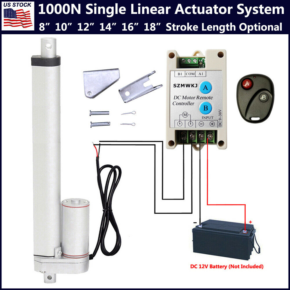 hight resolution of details about linear actuator 12v w remote control heavy duty 1000n 220lbs electric dc motor