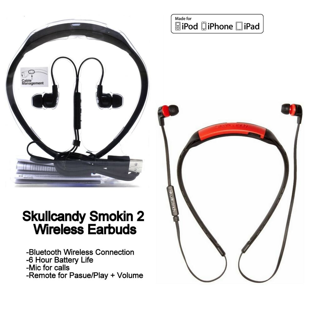 hight resolution of skullcandy smokin buds 2 wireless bluetooth earphones with mic red white new ebay