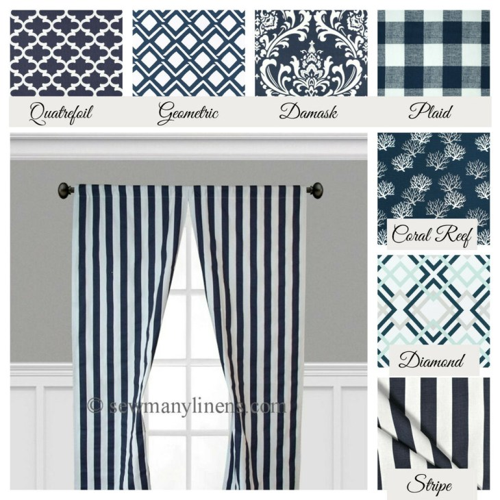 Details about Navy Blue Curtains Window Treatments Valance Navy Curtain  Panels Drapery Decor