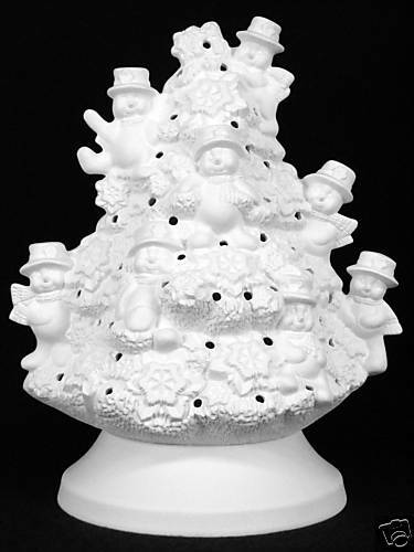 Snowman Christmas Tree Ceramic Bisque You Paint Made To