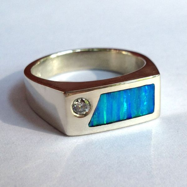 Mens Diamond Ring With Created Opal In Sterling Silver
