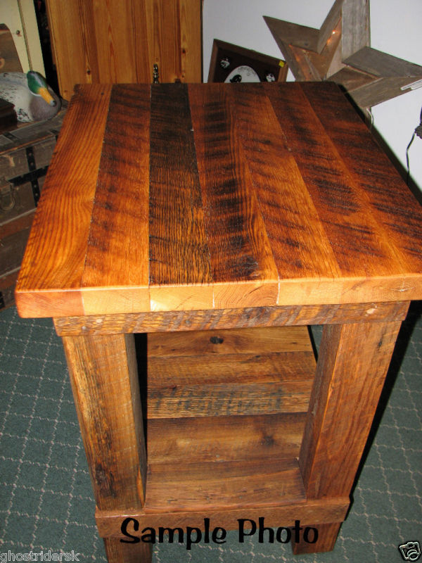Rustic Salvaged Barn Wood Oak Butcher Block Style Table  Ebay