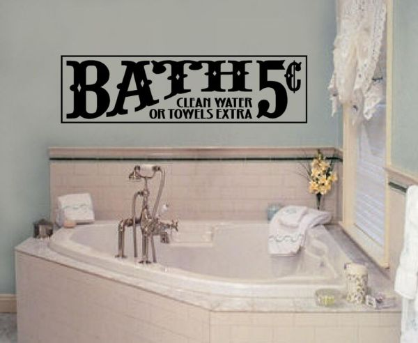 Bath Vinyl Wall Decal Words Stickers Lettering Decor