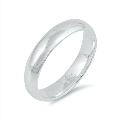 Sterling Silver Plain 4mm Wedding Band Promise Ring Size 4